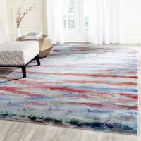 Safavieh Valencia Multi Abstract Watercolor Distressed Silky Polyester Rug - 9' x 12'