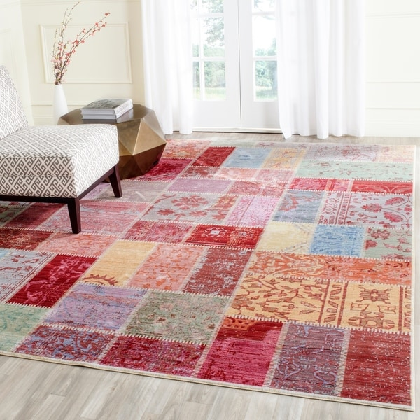Safavieh Valencia Multi Patchwork Distressed Silky Polyester Rug - Red - 9' x 12'