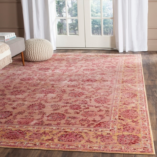 Safavieh Valencia Pink/ Multi Distressed Silky Polyester Rug - 9' x 12'