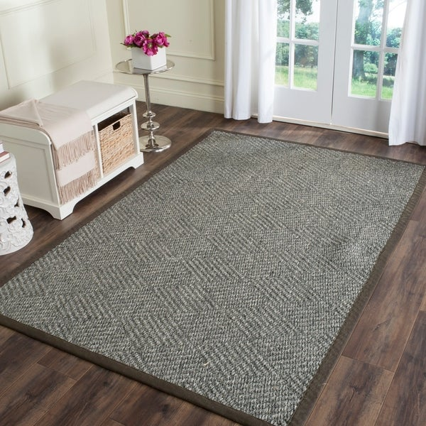 Safavieh Casual Natural Fiber Hand-Woven Grey / Dark Grey Sisal Rug - 9' x 12'