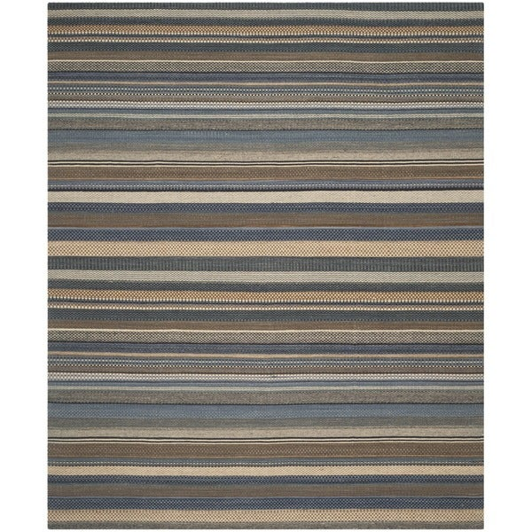 Safavieh Hand-Woven Kilim Blue Wool Rug - 9' x 12'