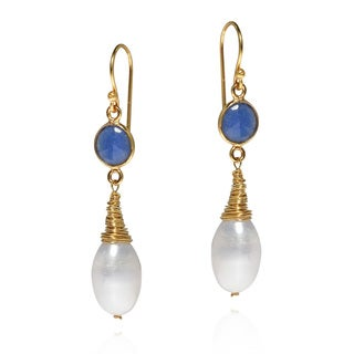Wonder Pearl Sapphire Gold Over .925 Dangle Earrings (Thailand)