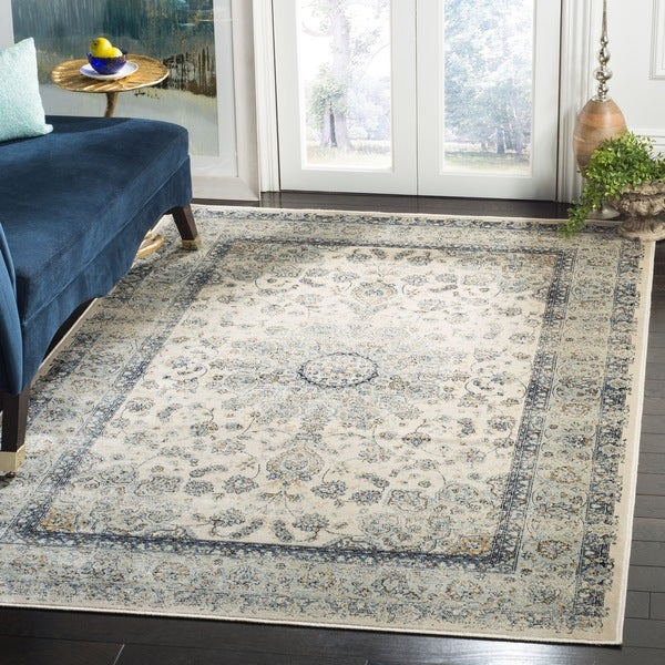Safavieh Persian Garden Vintage Ivory/ Light Blue Distressed Silky Viscose Rug - 8' x 11'