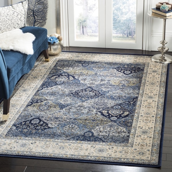 Safavieh Persian Garden Vintage Navy/ Ivory Distressed Silky Viscose Area Rug - 8' x 11'