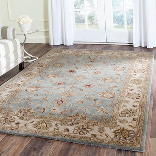 Safavieh Handmade Royalty Blue/ Beige Wool Rug (5' x 7')