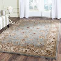 Safavieh Handmade Royalty Blue/ Beige Wool Rug - 5' x 7'