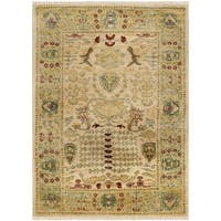 Safavieh Hand-knotted Peshawar Vegetable Dye Ivory/ Gold Wool Rug - 5' x 7'