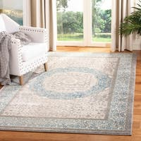 Safavieh Sofia Vintage Medallion Light Grey / Blue Distressed Rug (6'7 x 9'2)