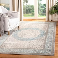 Safavieh Sofia Vintage Medallion Light Grey / Blue Distressed Rug - 6'7 x 9'2