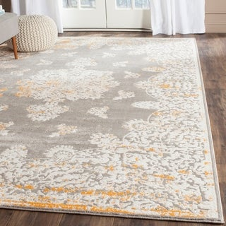 Safavieh Passion Watercolor Vintage Grey / Ivory Distressed Rug (6'7 x 9'2)
