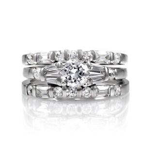 Sterling Silver Wedding Ring Trio Set
