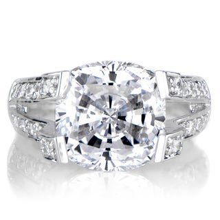 Sterling Silver Round Cut CZ Pave Engagement Ring