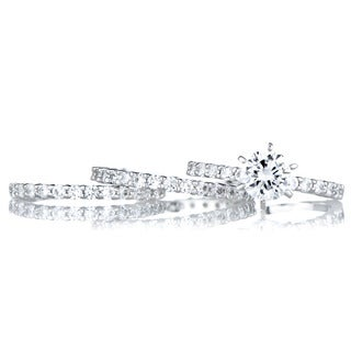 Sterling Silver Round Cut CZ Wedding Ring Trio Set
