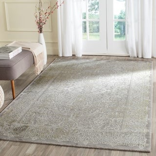 Safavieh Passion Watercolor Vintage Grey / Green Distressed Rug (6'7 x 9'2)