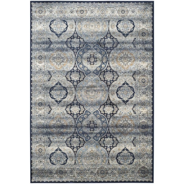 Safavieh Persian Garden Vintage Navy/ Ivory Distressed Silky Viscose Rug (8' x 11')