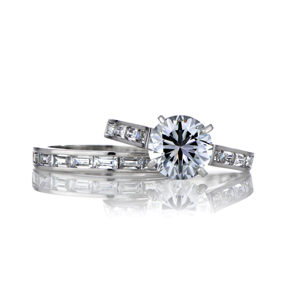 Sterling Silver Round And Baguette CZ Wedding Ring Set (6...
