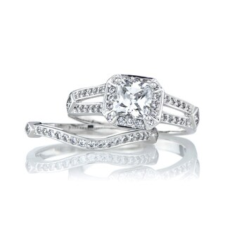 Sterling Silver Princess Cut CZ Wedding Ring Set