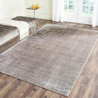 Safavieh Valencia Grey/ Multi Abstract Distressed Silky Polyester Rug (8' x 10')