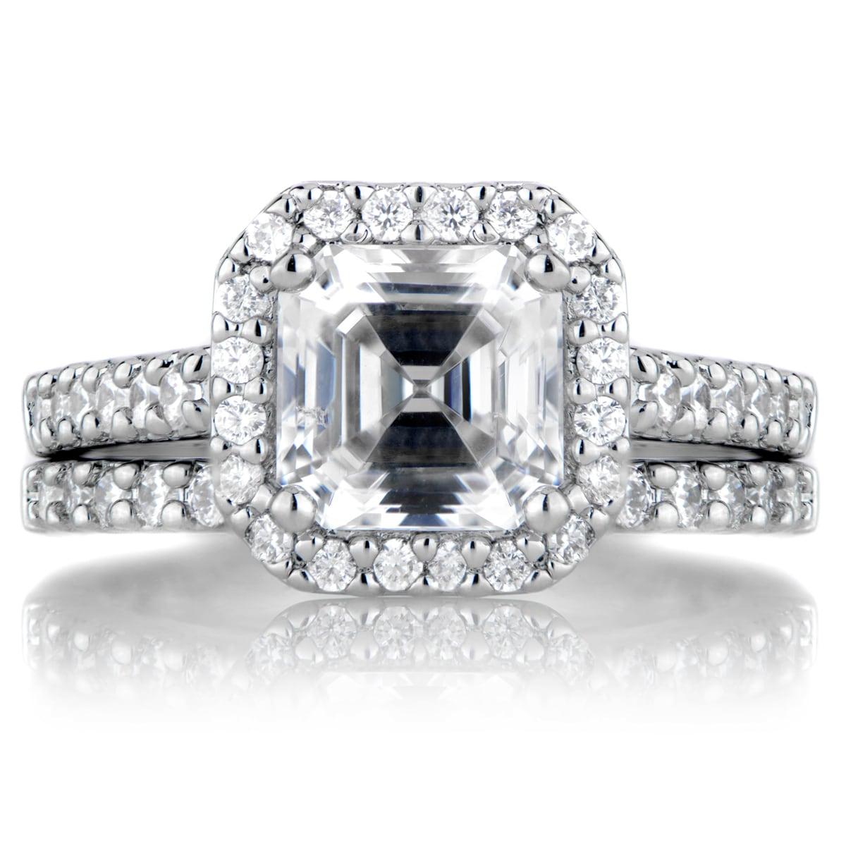 Sterling Silver Asscher Cut CZ Wedding Ring Set (11), Men...