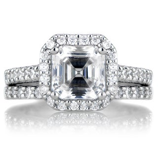 Sterling Silver Asscher Cut CZ Wedding Ring Set