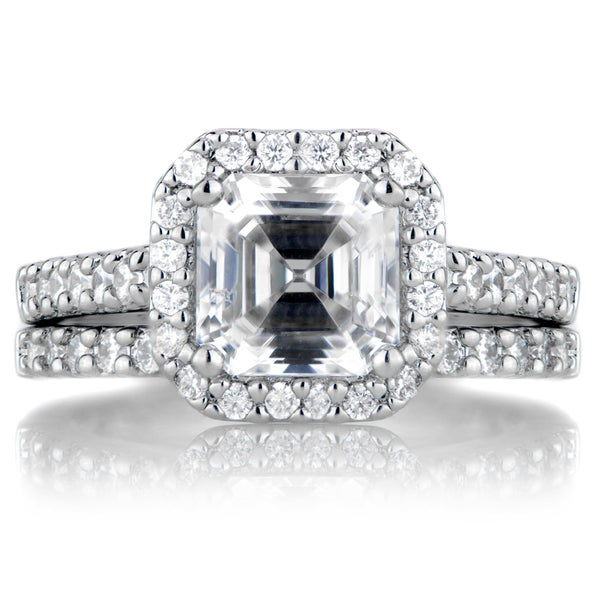 sterling silver asscher cut cz wedding ring set - Cz Wedding Ring Sets