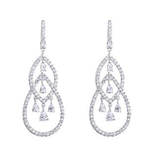 Pear Cubic Zirconia Chandelier Earrings