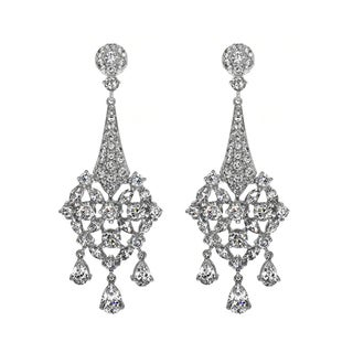 Fancy Cubic Zirconia Chandelier Earrings