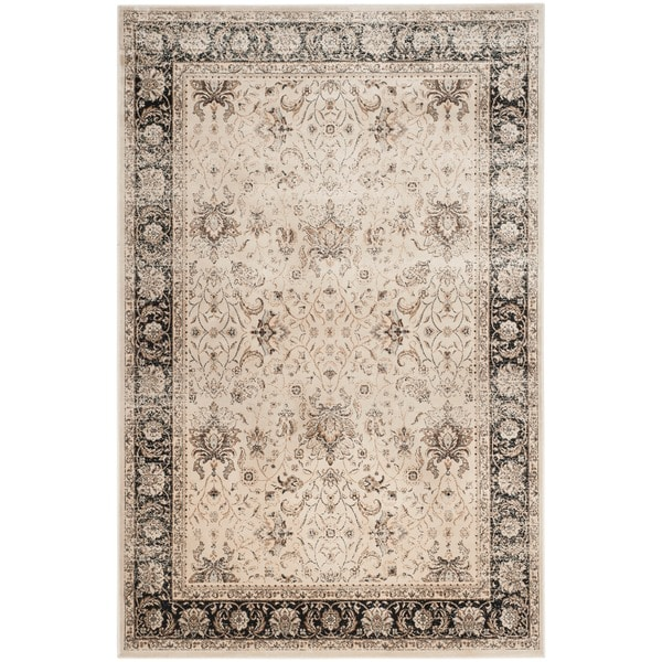Safavieh Persian Garden Vintage Ivory/ Black Distressed Silky Viscose Rug - 8' x 11'