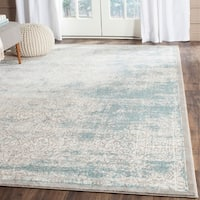 Safavieh Passion Watercolor Turquoise/ Ivory Distressed Rug (6'7 x 9'2) - 6'7 x 9'2