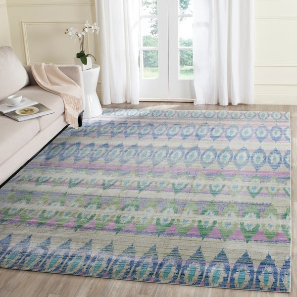 Safavieh Valencia Purple/ Multi Bohemian Distressed Silky Polyester Rug - 8' x 10'