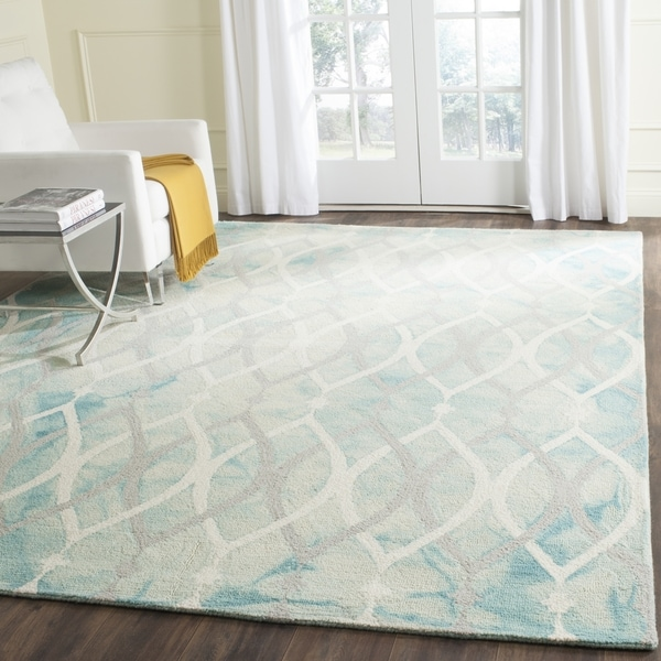 Shop Safavieh Handmade Dip Dye Green Ivory Grey Wool Rug