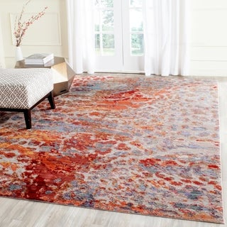 Safavieh Valencia Multi Abstract Distressed Silky Polyester Rug (8' x 10')