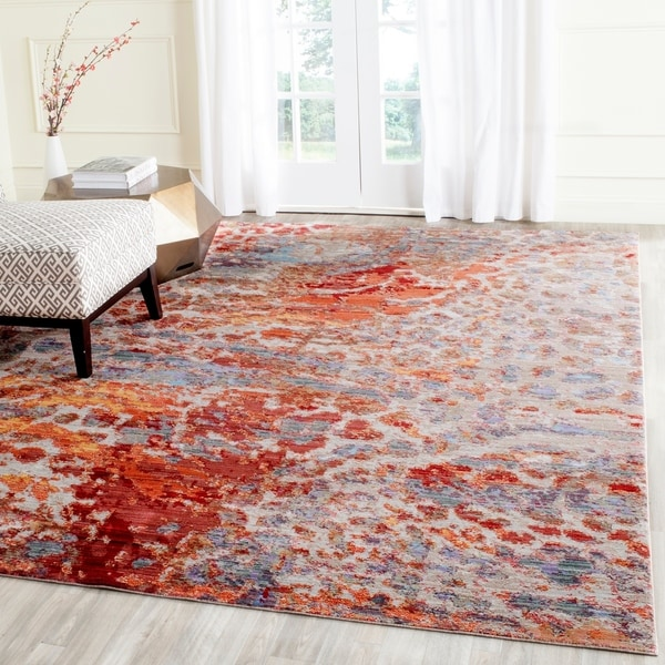 Safavieh Valencia Multi Abstract Distressed Silky Polyester Rug - 8' x 10'