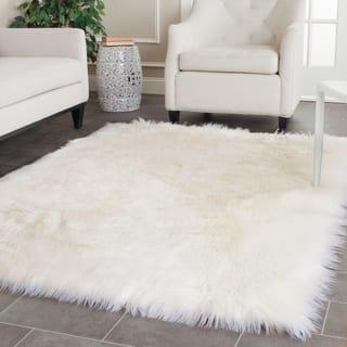 Safavieh Handmade Faux Sheep Skin Ivory Acrylic Rug 4 X 6