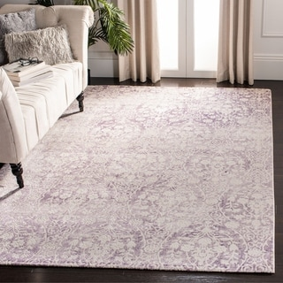 Safavieh Passion Watercolor Vintage Lavender/ Ivory Distressed Rug (6'7 x 9'2)