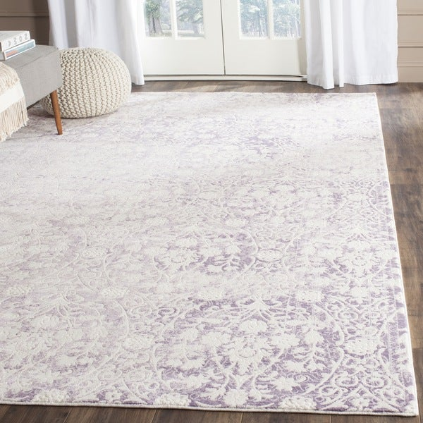 Safavieh Passion Watercolor Vintage Lavender/ Ivory Distressed Rug (6'7 x 9'2) - 6'7 x 9'2