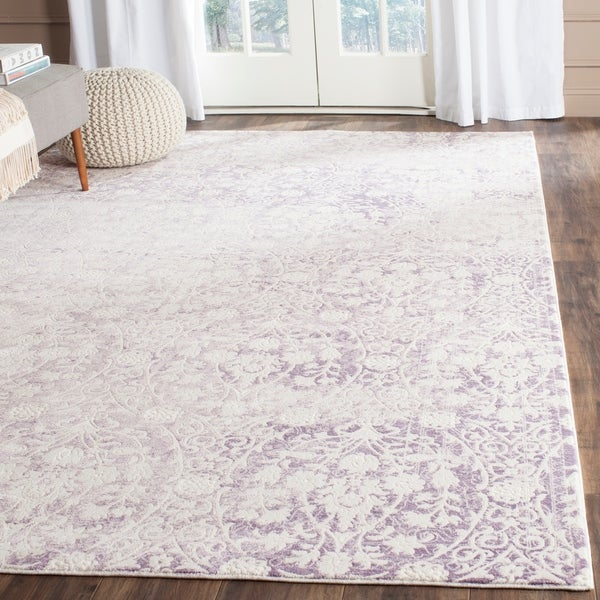 Safavieh Passion Watercolor Vintage Lavender/ Ivory Distressed Rug by Safavieh