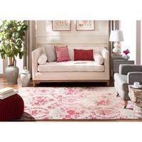 Safavieh Monaco Vintage Floral Bouquet Ivory / Pink Distressed Rug (4' x 5'7) - 4' x 5'7
