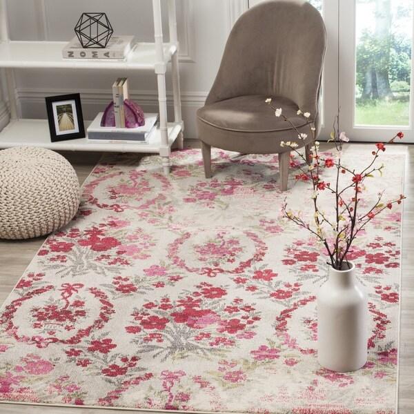 Safavieh Monaco Vintage Floral Bouquet Ivory / Pink Distressed Rug (4' x 5'7)