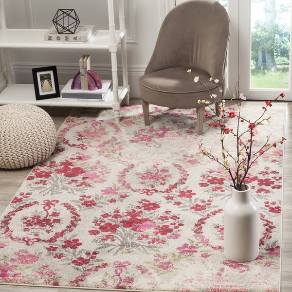 Safavieh Monaco Vintage Floral Bouquet Ivory / Pink Distressed Rug (8' x 11') - 8' x 11'