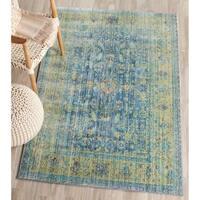 Safavieh Valencia Blue/ Multi Distressed Silky Polyester Rug - 4' x 6'