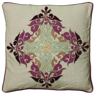 Rizzy Home Beige And Plum Square Pillow Cover