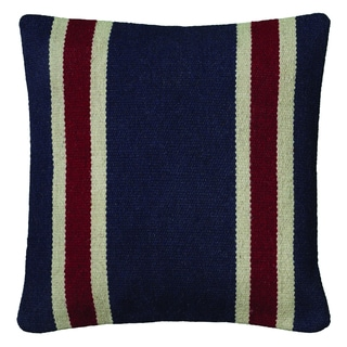 Rizzy Home Navy And Red Square Pillow Cover