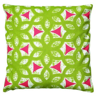 Rizzy Home White And Lime Square Pillow Cover
