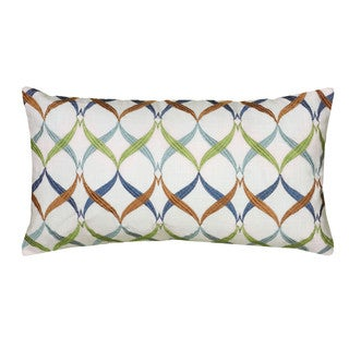Rizzy Home White And Multicolor Rectangle Pillow Cover