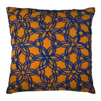 Rizzy Home Yellow And Blue Square Pillow Cover