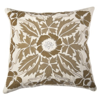 Rizzy Home Ivory And Beige Square Pillow Cover