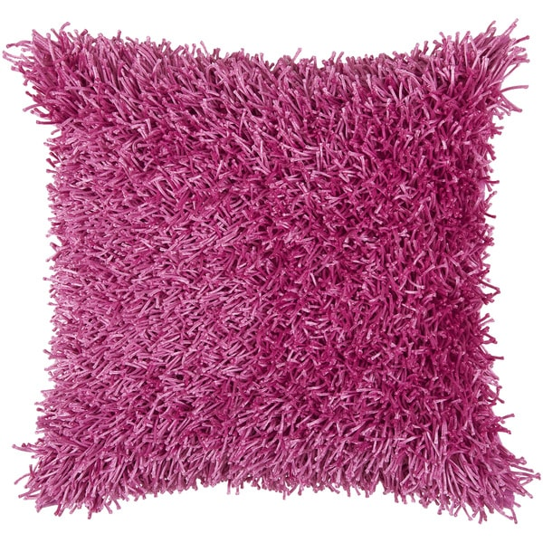 Shop Rizzy Home Pink Fuzzy Square Pillow Cover Overstock