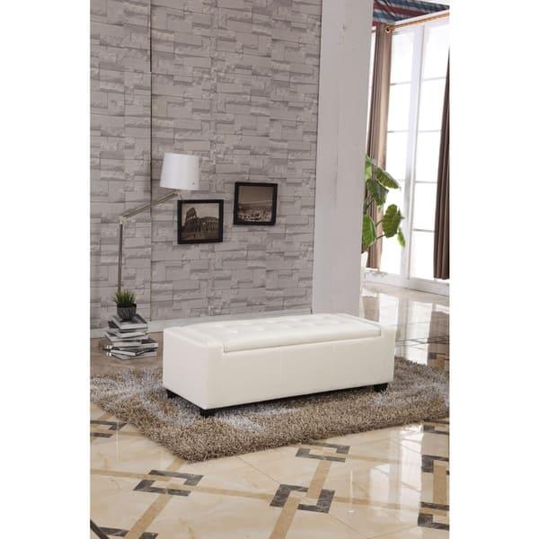 Enjoyable Shop Contemporary White Faux Leather Storage Ottoman Bench Theyellowbook Wood Chair Design Ideas Theyellowbookinfo