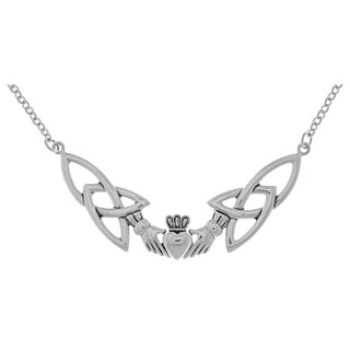 Silverplated Celtic Claddagh Trinity Knotwork Pendant Link Chain Necklace